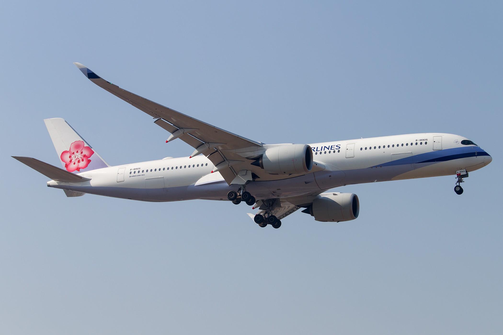 [一图党] 中华航空 A350-900XWB首航北京 CI511 B-18905 2100*1400 AIRBUS A350-900XWB B-18905 中国北京首都国际机场