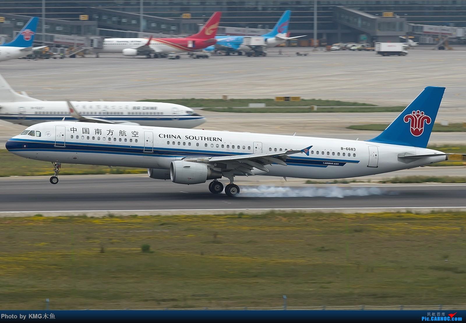 Re:[原创]【昆明长水国际机场——KMG木鱼拍机】第一次拍03落地擦烟 AIRBUS A321-200 B-6683 中国昆明长水国际机场