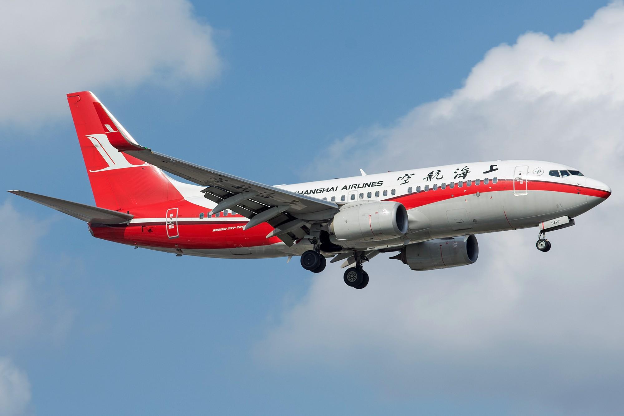 Re:[原创][SHA]蓝天白云下737一组 BOEING 737-700 B-5827 中国上海虹桥国际机场