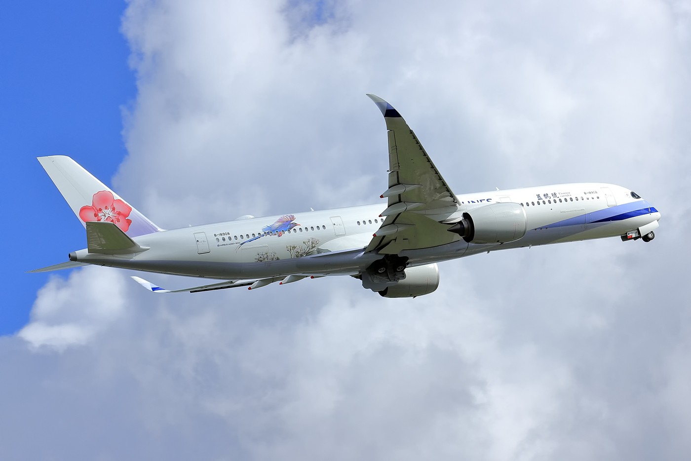 """Re:[原创]【AMS】【论坛首发】华航最新彩绘""""蓝鹊号""""A350-900,即空客第100架A359 AIRBUS A350-941 B-18908 荷兰阿姆斯特丹史基浦机场"""
