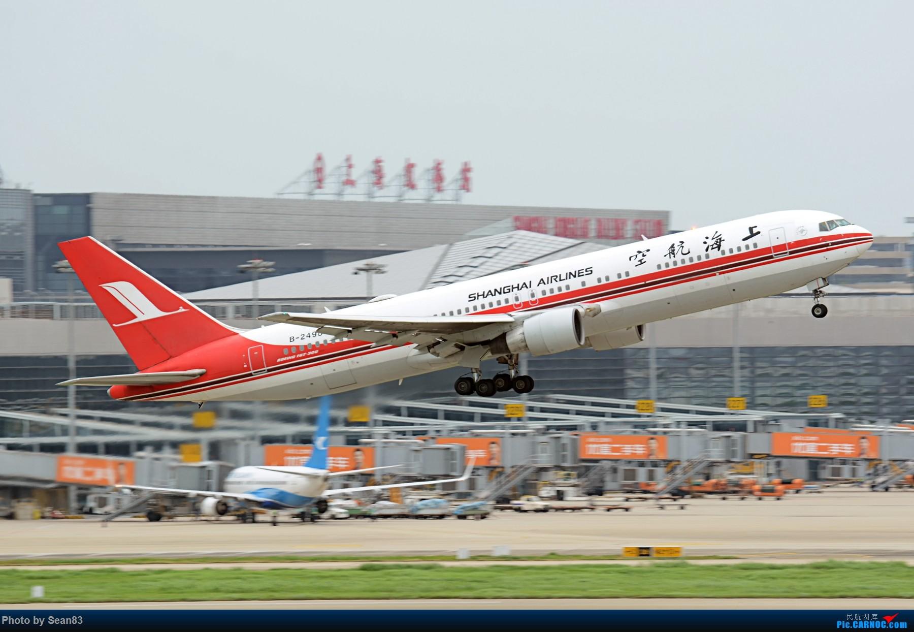 [原创](SHA 1800*) 上航旧装767 闪灯拉起 BOEING 767-300 B-2498 上海虹桥机场