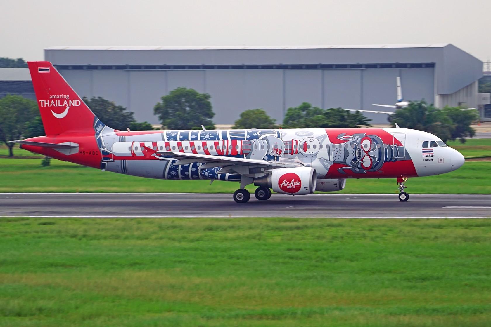 [原创]泰国亚洲航空彩绘 门神+缤纷泰国 AIRBUS A320-200 HS-ABC 泰国曼谷廊曼国际机场