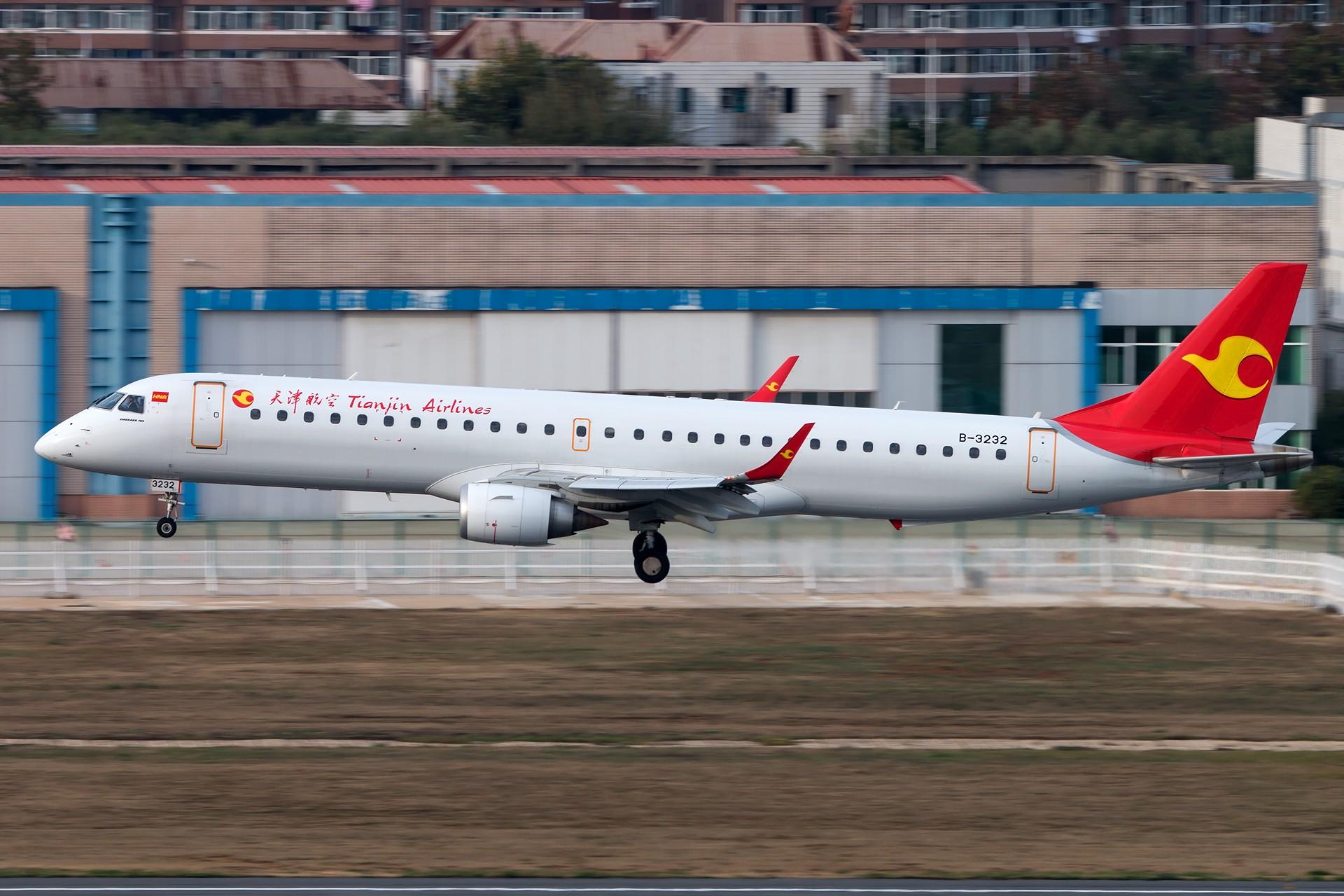 [原创][一图党]天津航空 ERJ195LR B-3232 1920*1280 EMBRAER ERJ-195LR (ERJ-190-200 LR) B-3232 中国大连国际机场