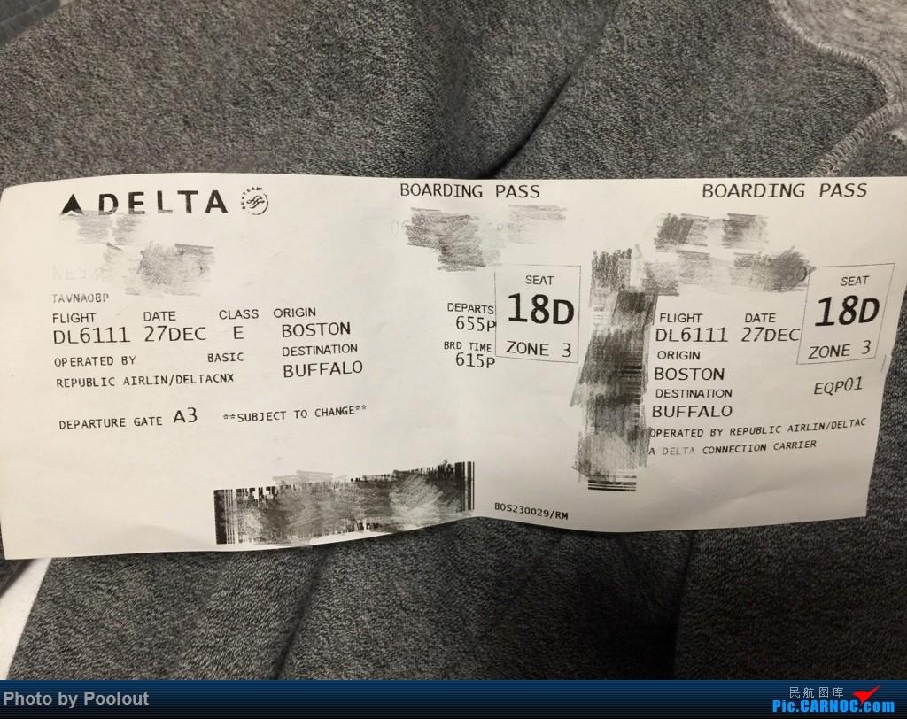 Re:[原创]E游记(1) JetBlue B6806/Delta DL6111 BUF<->BOS 首次以任何主题发表游记-2017圣诞冬假波士顿之行 EMBRAER E-170 N818MD