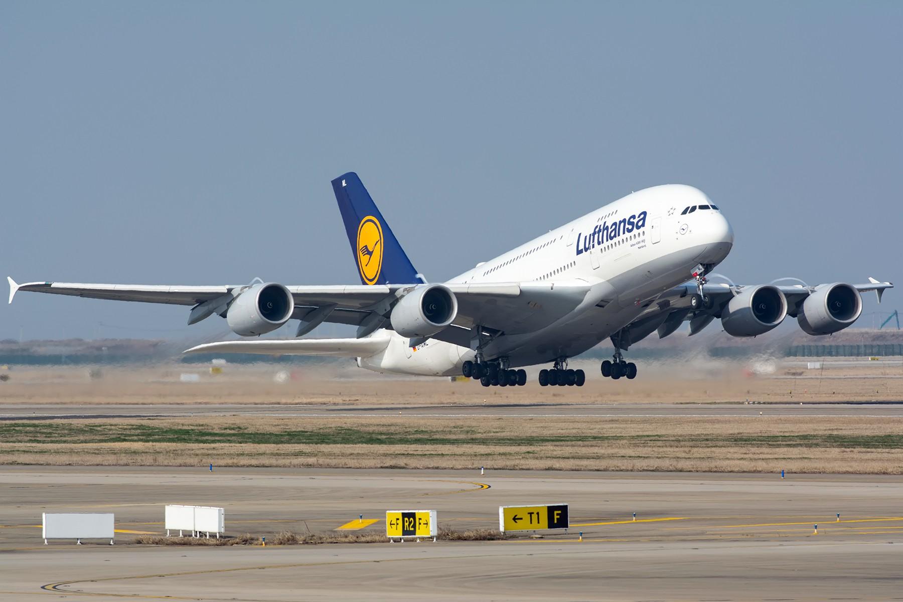 [原创]【PVG】难得的南风天汉莎380强势起飞 AIRBUS A380-800 D-AIML 中国上海浦东国际机场