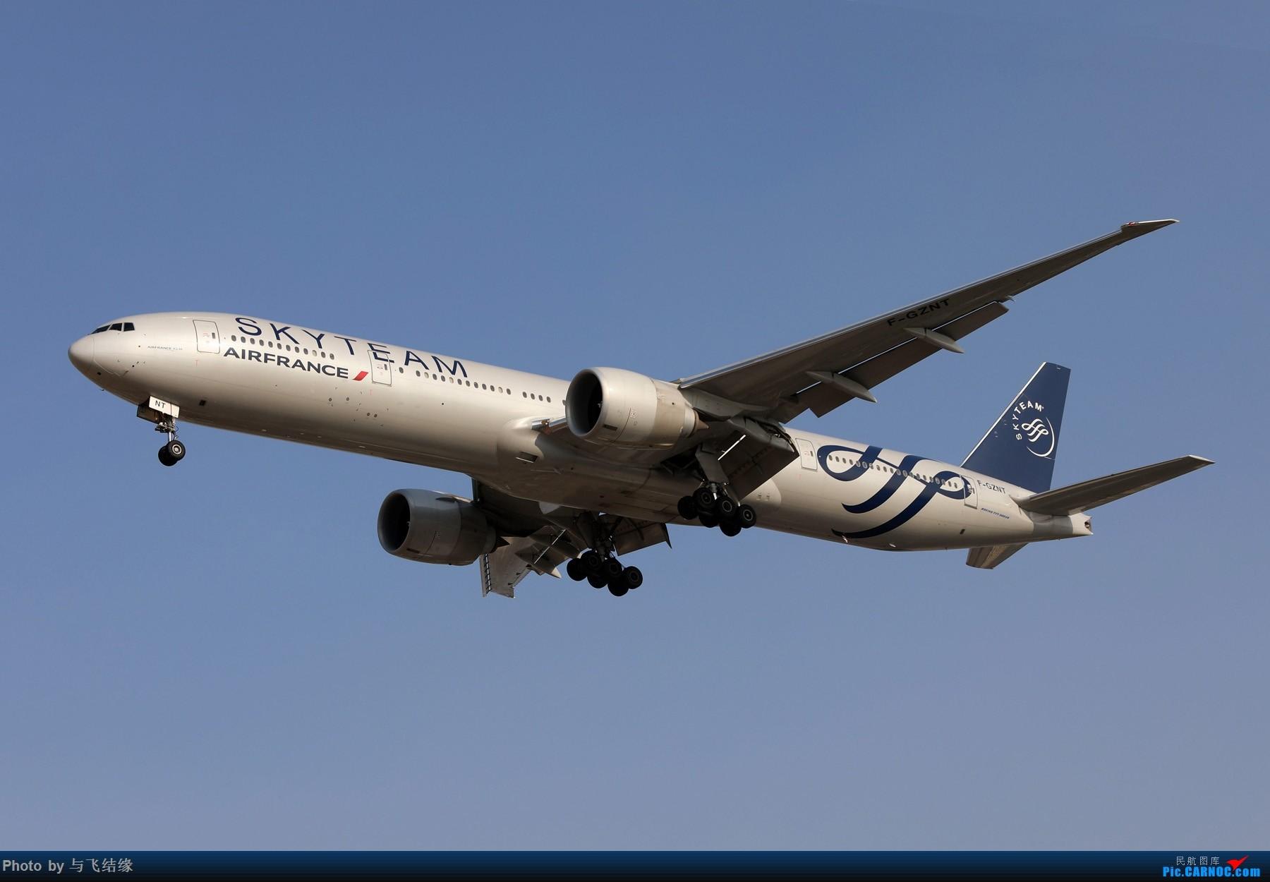 法国航空公司天合联盟涂装Boeing 777-300ER。 BOEING 777-300ER F-QZNT 中国北京首都国际机场
