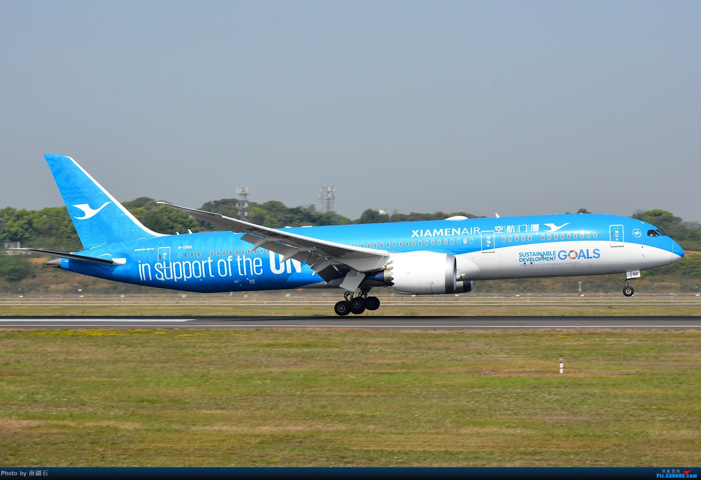 CTU 厦航UN可持续发展图标彩绘789左右两侧面 BOEING 787-9 B-1356 中国成都双流国际机场