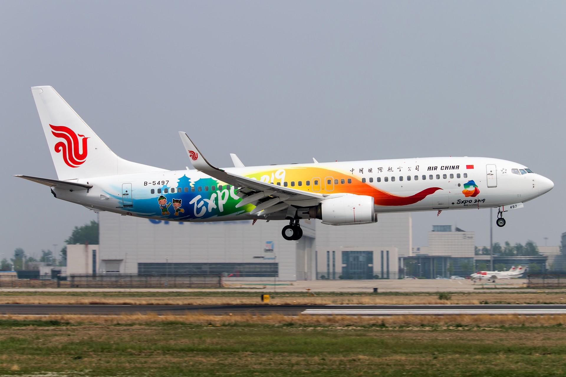 [一图党] 中国国际航空 EXPO 2019 Beijing彩绘机 1920*1280 BOEING 737-800 B-5497 中国北京首都国际机场
