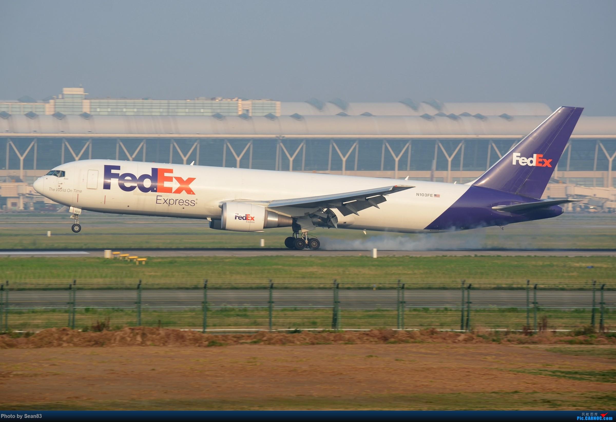 (PVG)沪广线上的FEDEX BOEING 767F N103FE 中国上海浦东国际机场