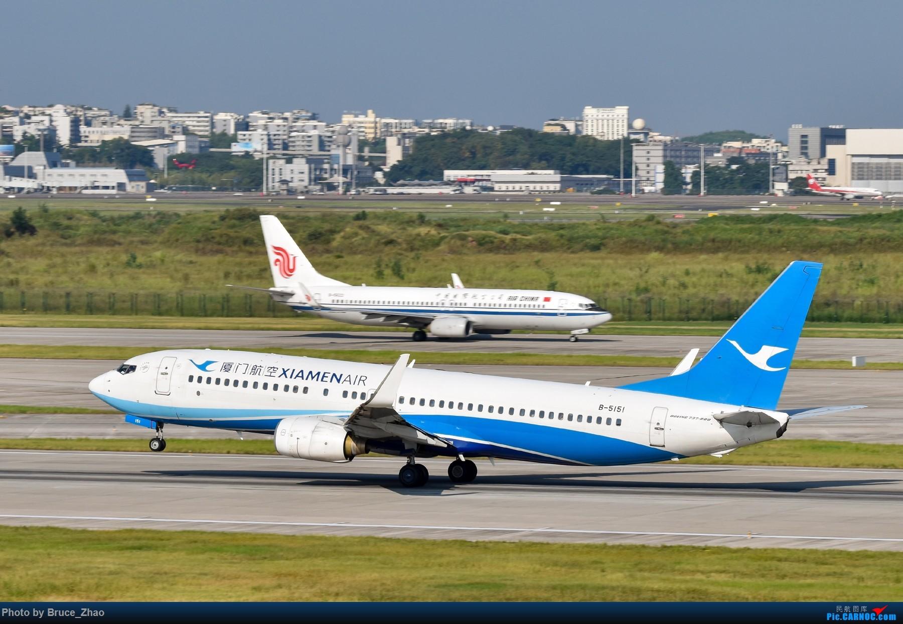 厦门航空B737在CKG 21跑道起飞 BOEING 737-800 B-5151 中国重庆江北国际机场