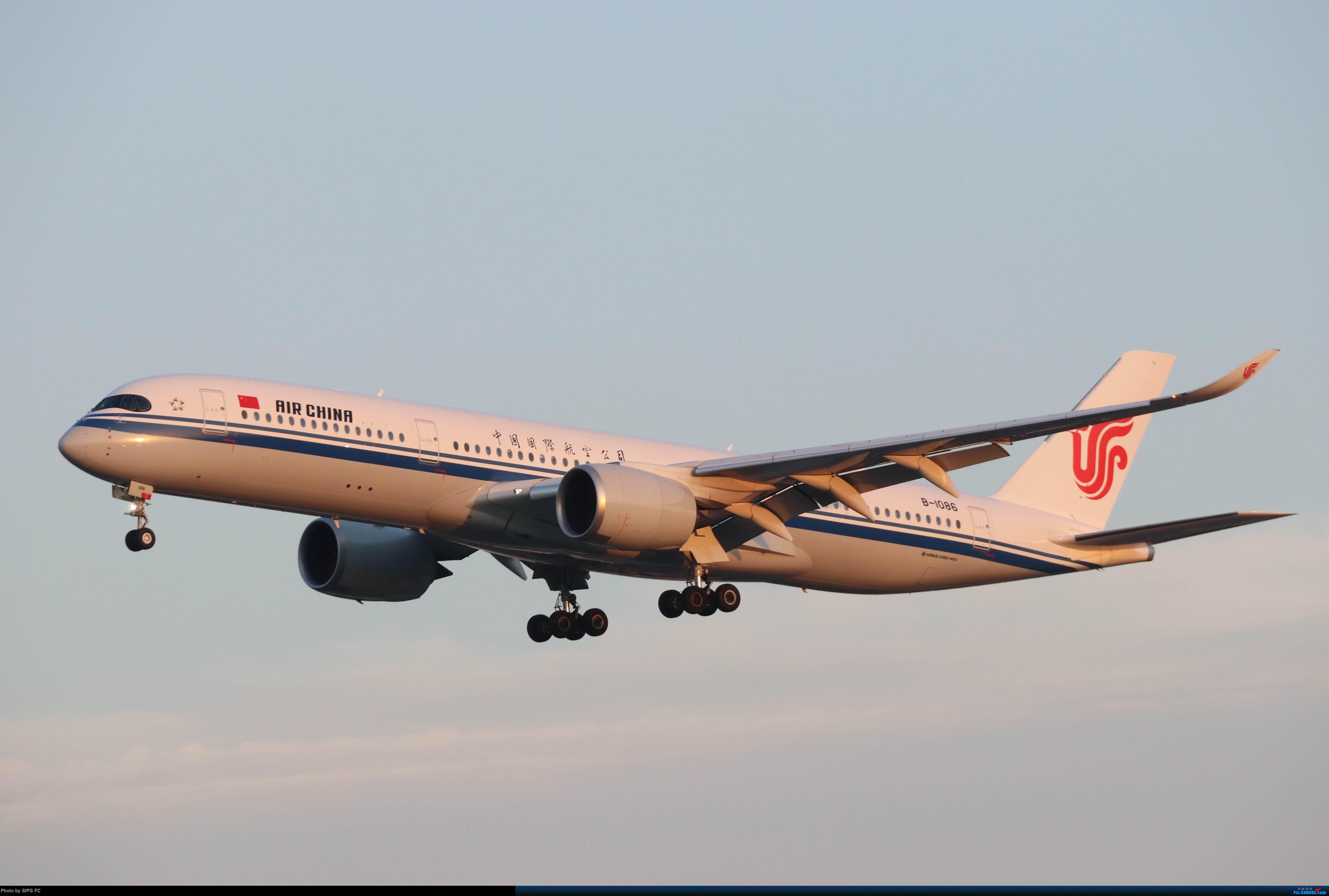 夕阳下的国航A350-900(B-1086) AIRBUS A350-900 B-1086 中国上海虹桥国际机场