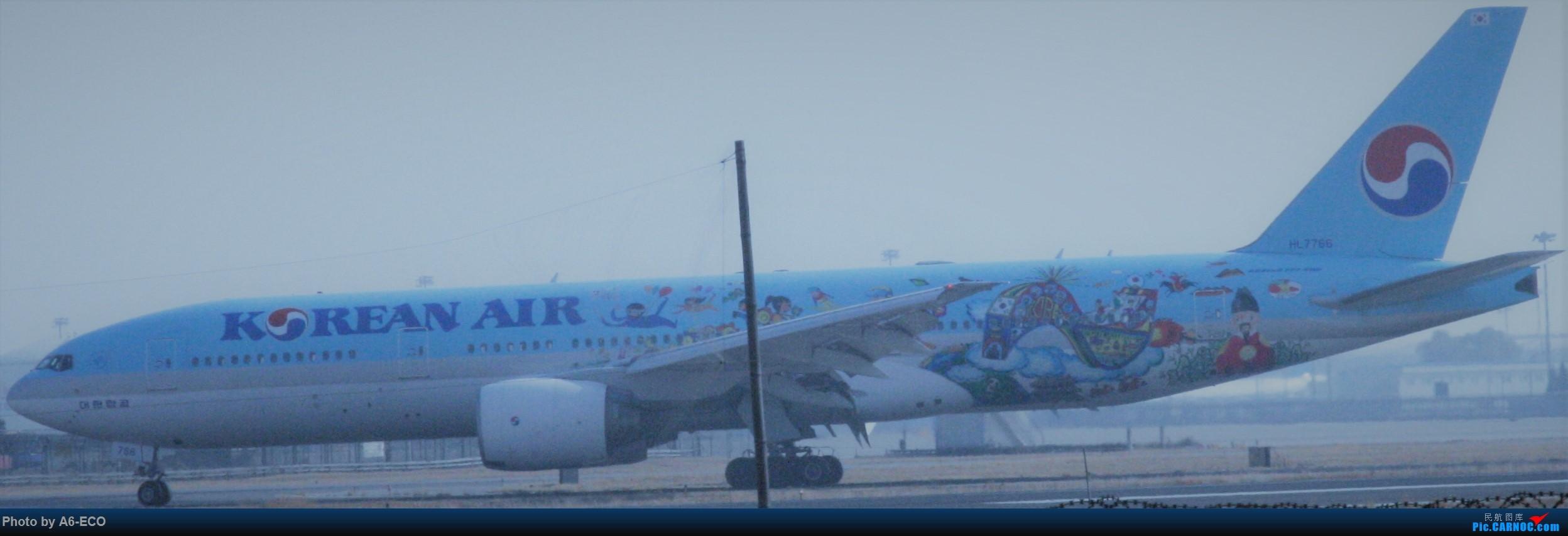Re:[原创]今天运气极好,云南孔雀,B-1070,2个菜航邮戳,泡菜航彩绘,东航邮戳...... BOEING 777-200ER HL7766 中国北京首都国际机场