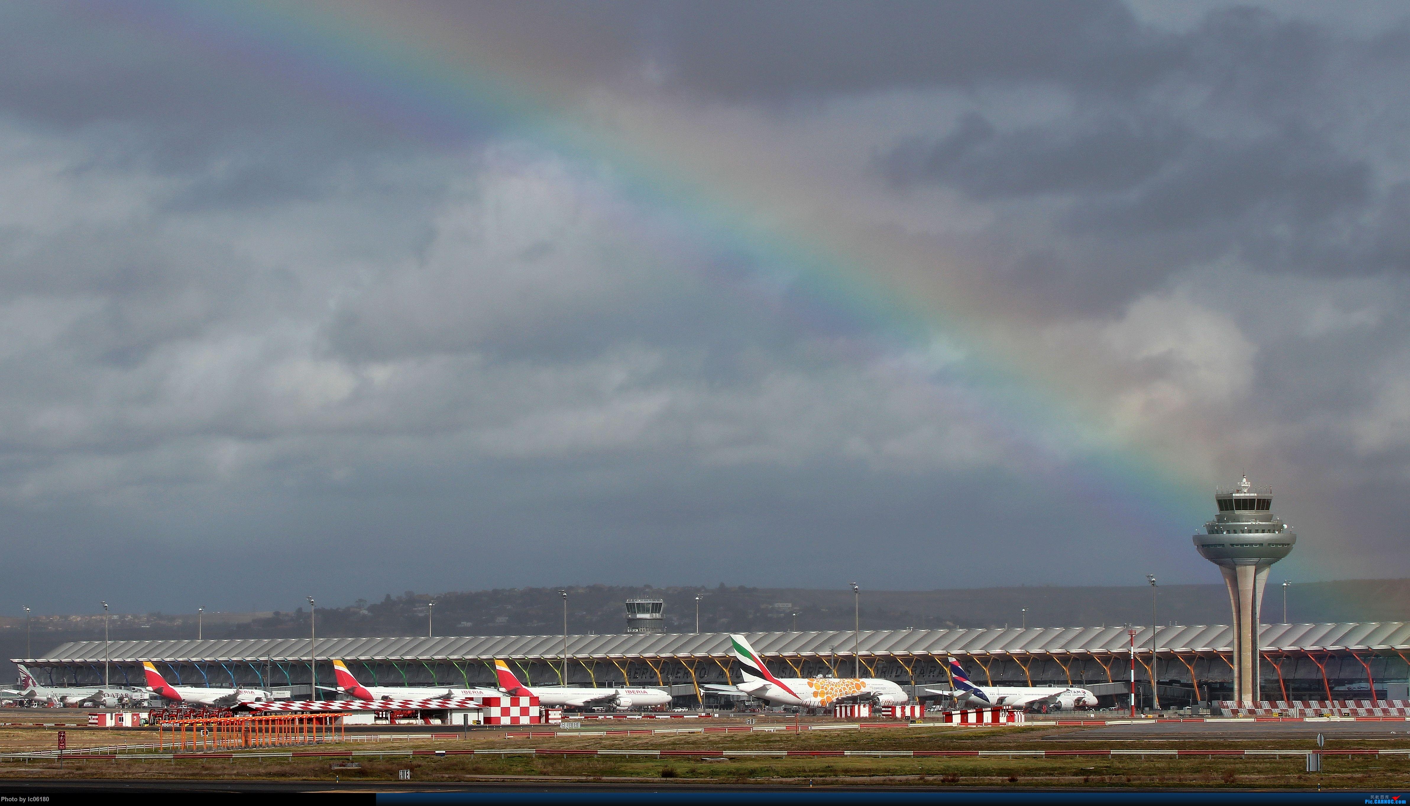 『lc06180』彩虹下的马德里机场&古巴航空IL96    西班牙马德里机场