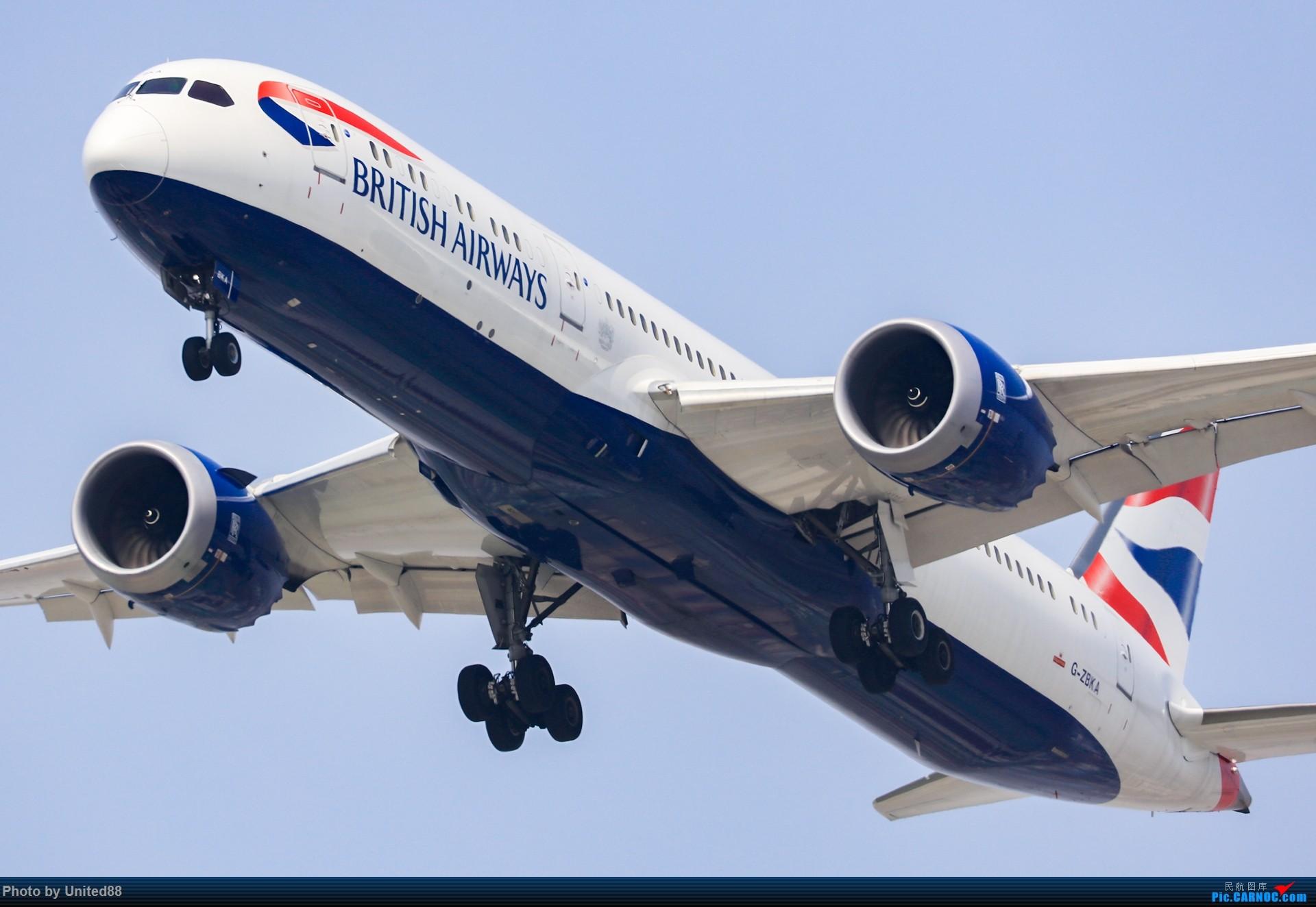 ZBAA RWY1-9 洛杉矶视角 BOEING 787-9 DREAMLINER G-ZBKA 北京首都国际机场