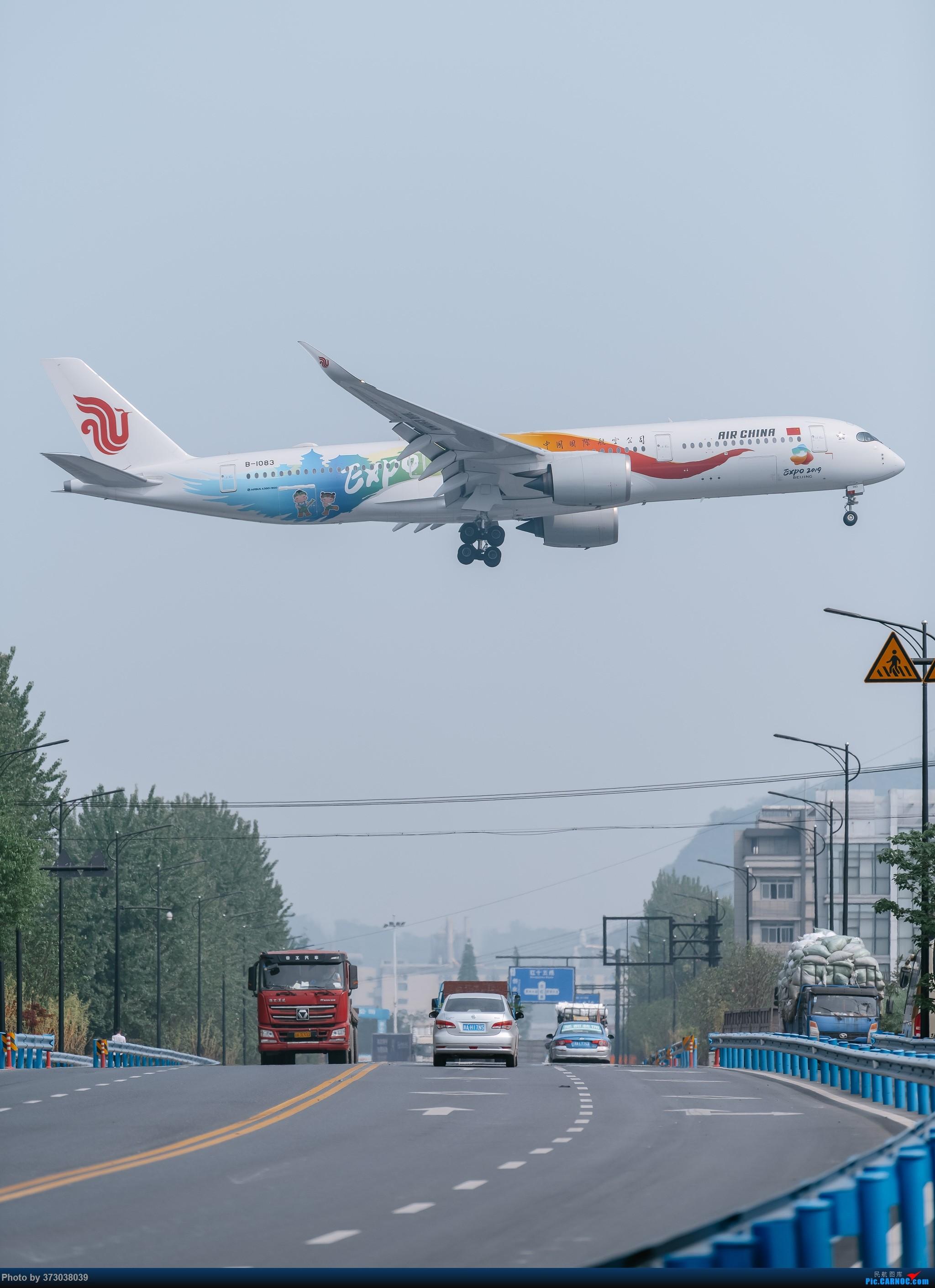 """[原创]【杭州飞友会】国航A350""""多彩世园号""""彩绘落地 杭州萧山机场 AIRBUS A350-900 B-1083 中国杭州萧山国际机场"""