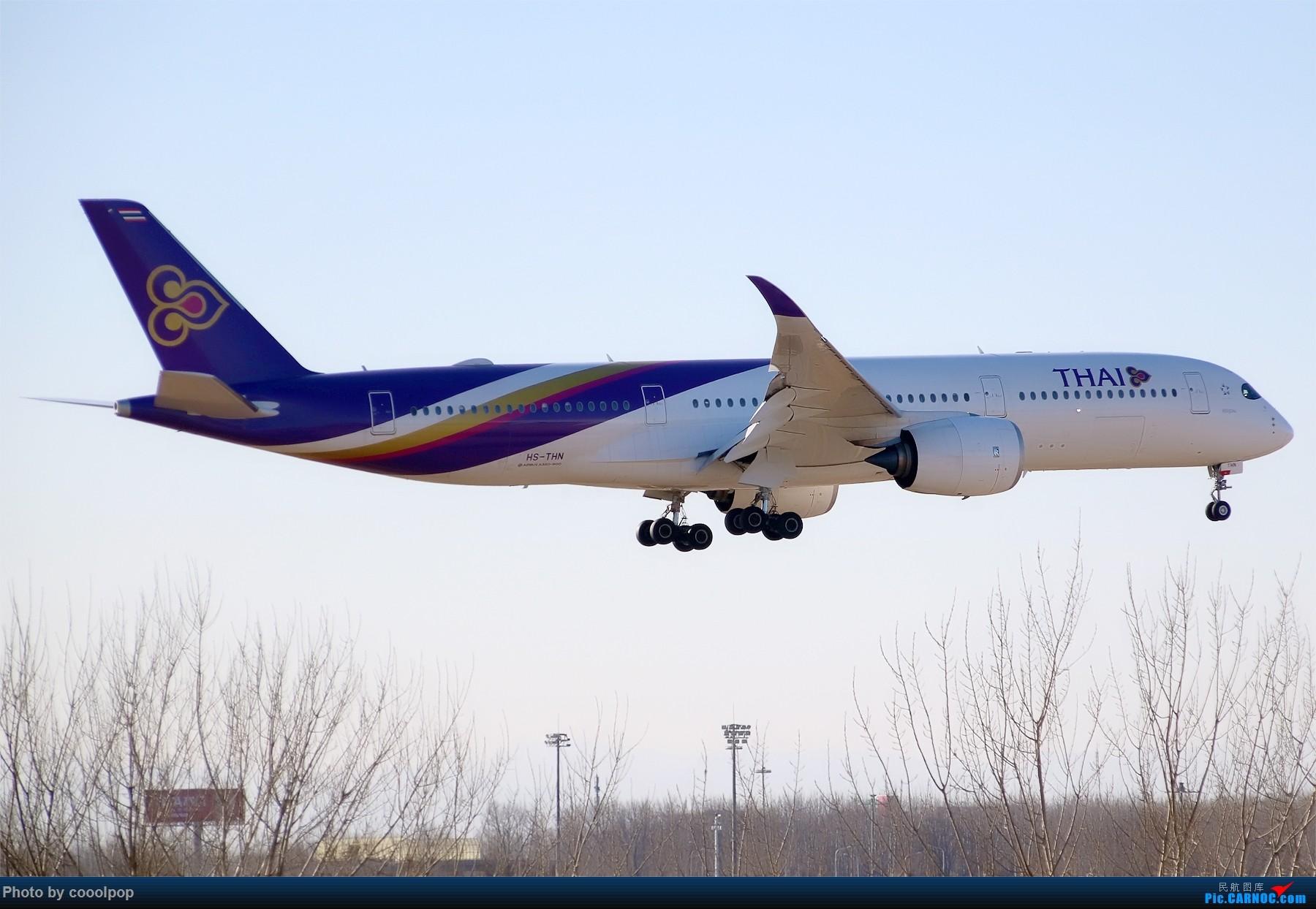 Re:[原创]PEK T3 桥上的一些大鸟!牌彩绘是要拼人品哒! A350-900 HS-THN 中国北京首都国际机场