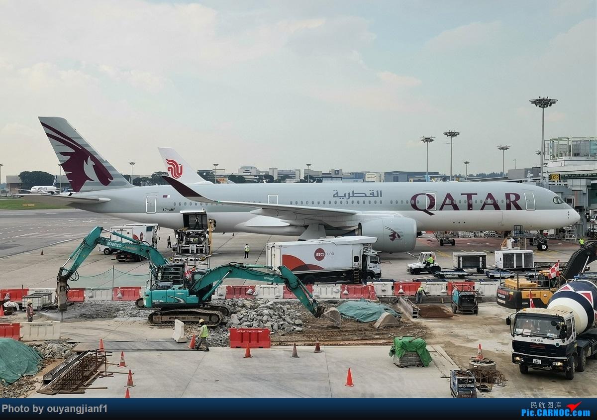 Re:[原创]终于有时间歇下来,可以好好总结一下2019年的飞机游记了,第三段,在新加坡参观星耀樟宜,在非洲穿行毛里求斯,在欧洲俯瞰大巴黎,第一次体验毛航359之旅1 AIRBUS A350-900 A7-AMF 新加坡樟宜机场