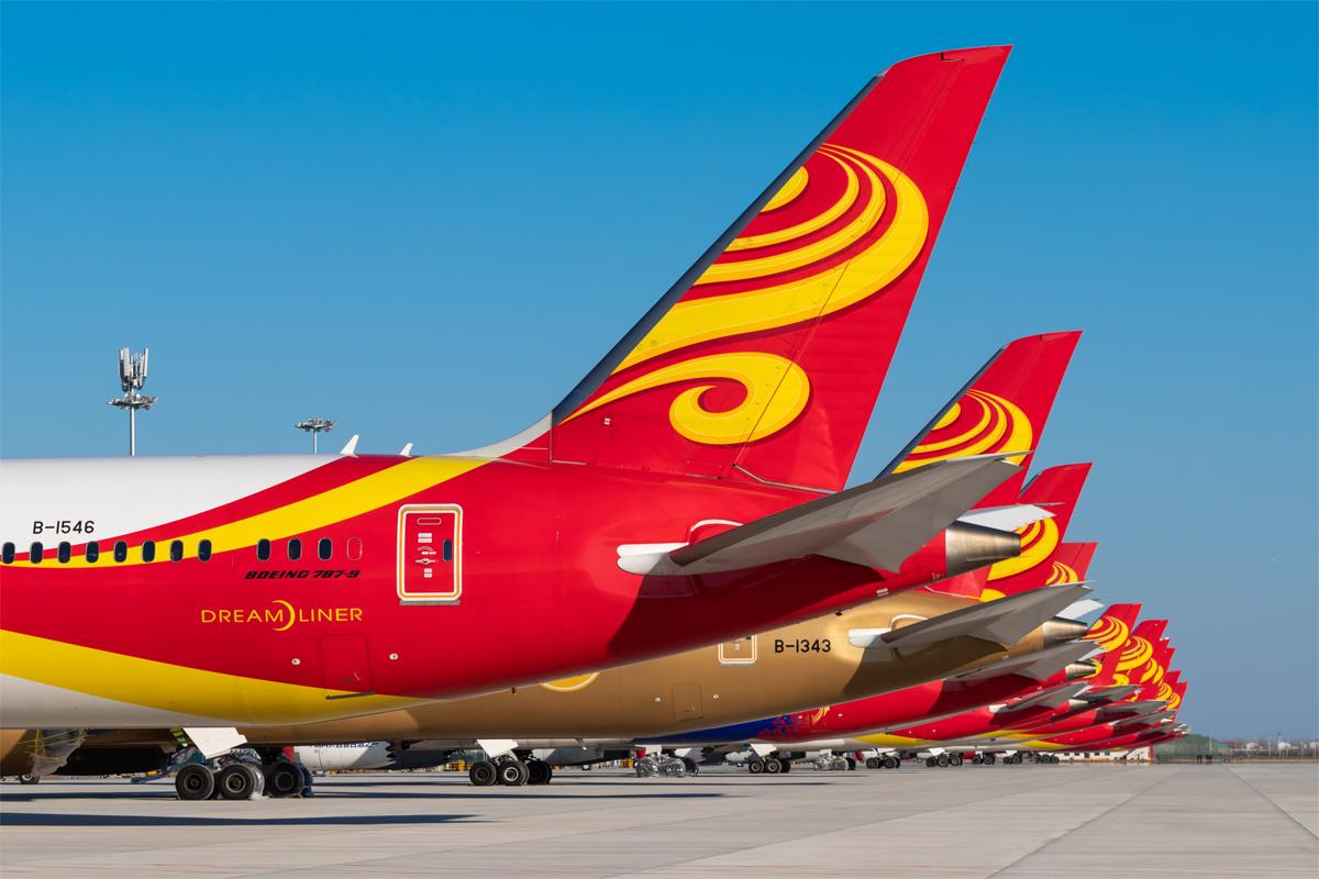 **一图党**大兴机场停着的一排海航 BOEING 787-9 B-1546 中国北京大兴机场